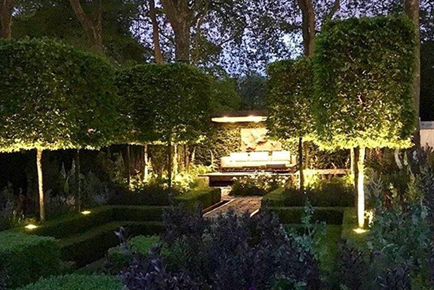 chelsea garden with lighting