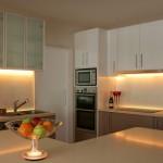 Strip lighting in kitchen