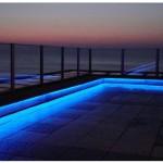 Led strip lighting around pool